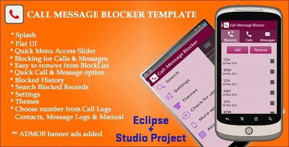 Call SMS Blocker App Template with AdMob