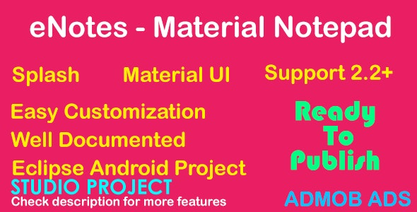 eNotes - Material UI - AdMob - CodeCanyon Item for Sale