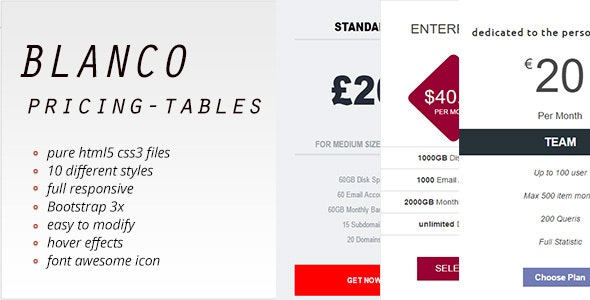 Blanco Pricing Tables - CodeCanyon Item for Sale
