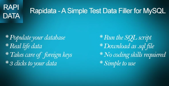 Rapidata - A Simple Test Data Filler for MySQL - CodeCanyon Item for Sale