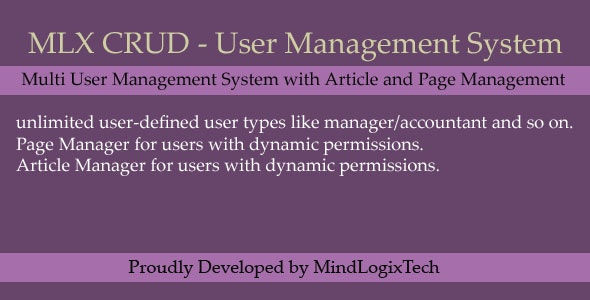 MLX CRUD - User Management System - CodeCanyon Item for Sale