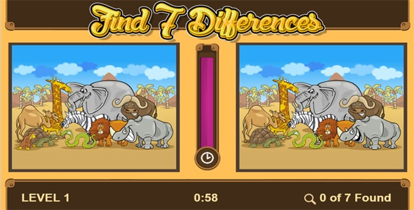 Find 7 Differences Game - HTML5 Educational game (CAPX included) - CodeCanyon Item for Sale