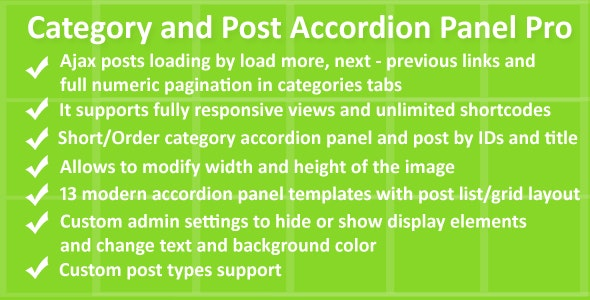 Category and Post Accordion Panel Pro - CodeCanyon Item for Sale