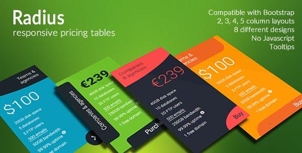 Radius - Responsive Pricing Tables