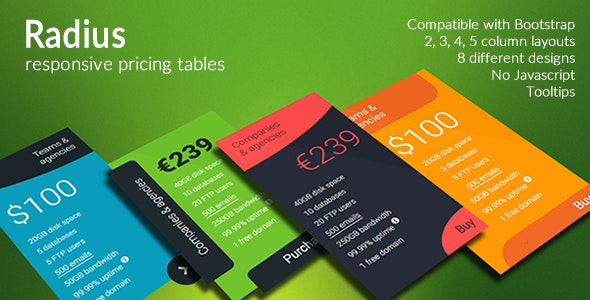 Radius - Responsive Pricing Tables - CodeCanyon Item for Sale