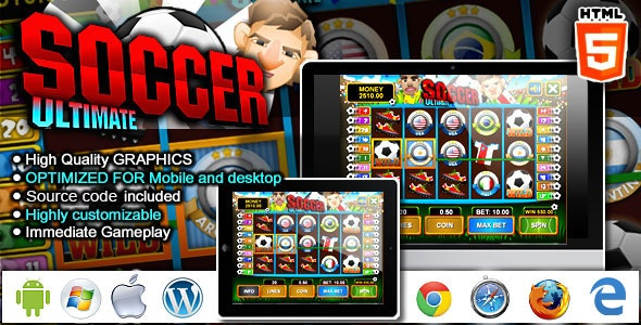 Slot Machine Ultimate Soccer - HTML5 Casino Game - CodeCanyon Item for Sale