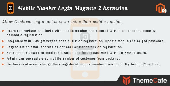 Mobile Number Login Magento 2 Extension - CodeCanyon Item for Sale