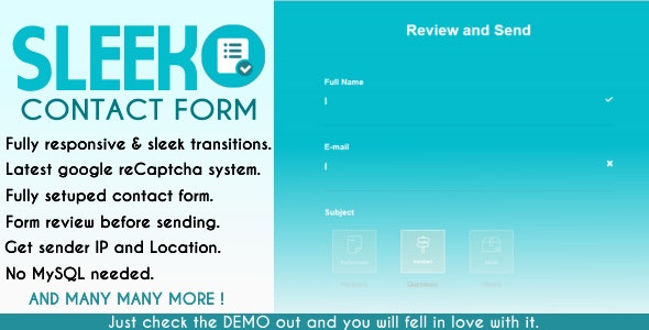 SLEEK Contact Form - CodeCanyon Item for Sale