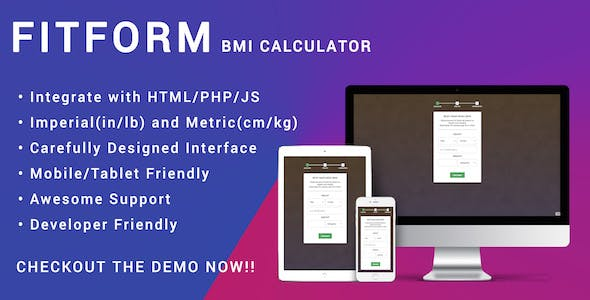 Fitform BMI Calculator for HTML | JS | PHP - Responsive