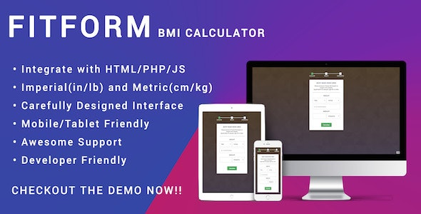 Fitform BMI Calculator for HTML | JS | PHP - Responsive - CodeCanyon Item for Sale