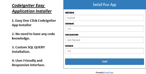 CodeIgniter Application Installer - CodeCanyon Item for Sale