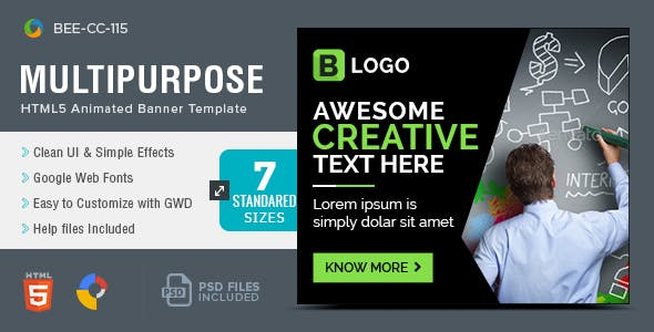 HTML5 Multi Purpose Banners - GWD - 7 Sizes(BEE-CC-115)