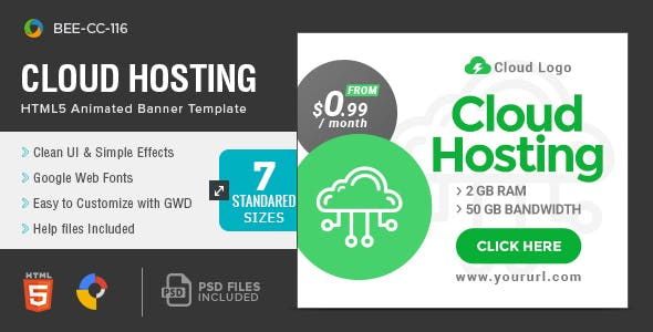 HTML5 Cloud Hosting Banners - GWD - 7 Sizes(BEE-CC-116)