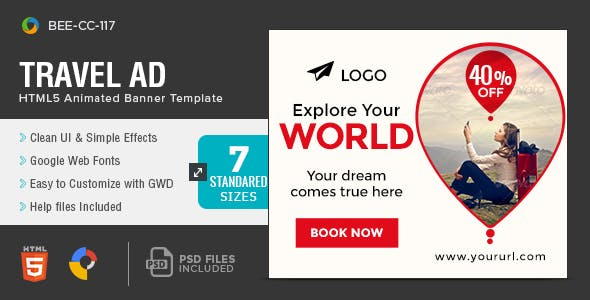 HTML5 Travel & Tourism Banners - GWD - 7 Sizes(NF-1751)