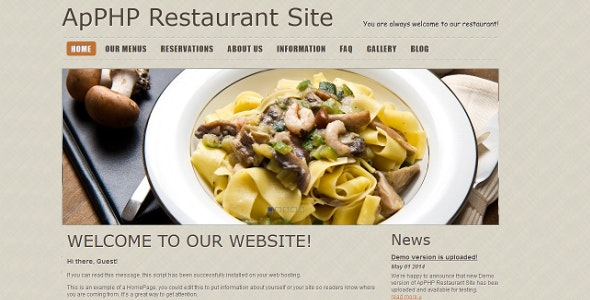 PHP Restaurant Menu and Reservation Site - CodeCanyon Item for Sale