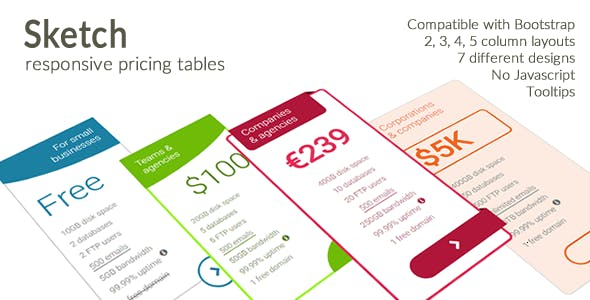 Sketch - Responsive Pricing Tables