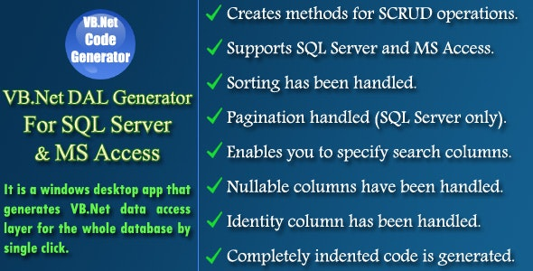 VB.Net DAL Generator - CodeCanyon Item for Sale