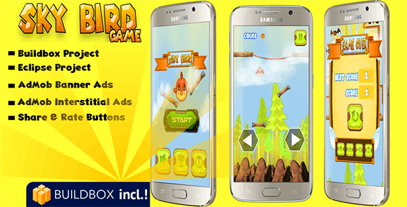 Sky Bird Game - Android Buildbox Game with Admob