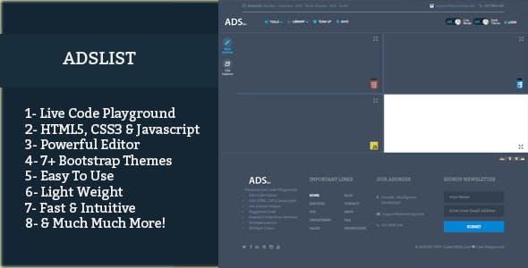 Live Code Playground With Bootstrap Themes