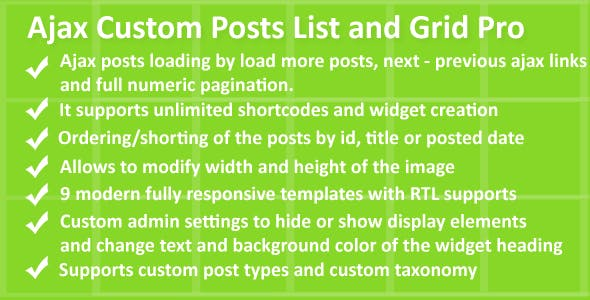 Ajax Custom Posts List and Grid Pro