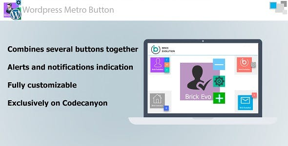 Metro Button WP with Interactive Notification Indication and Sub-Buttons
