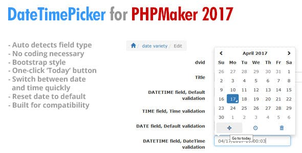EPI Date Time Picker for PHPMaker 2017