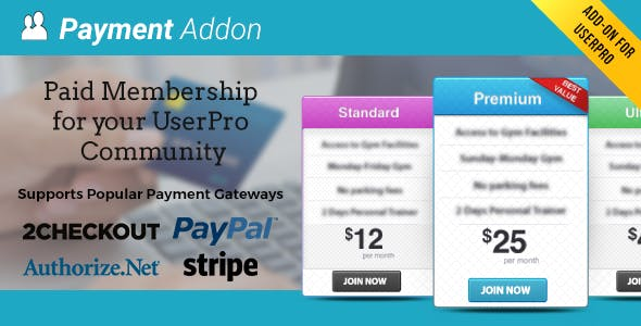 Payment Addon for UserPro        Nulled