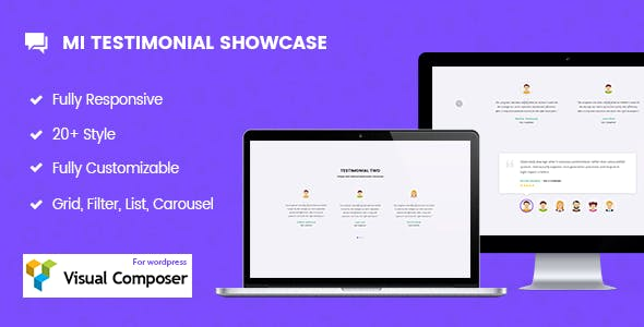 Mi Testimonials Showcase for Visual Composer WordPress Plugin