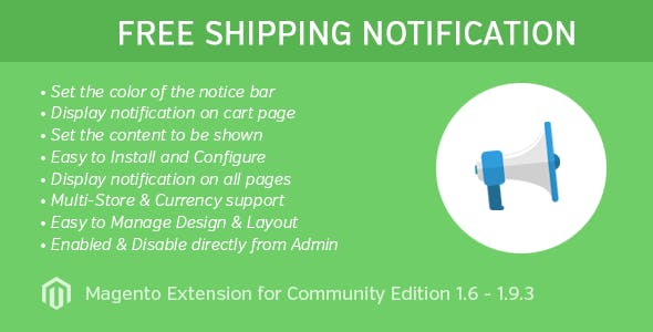 Free Shipping Notice Extension for Magento 1