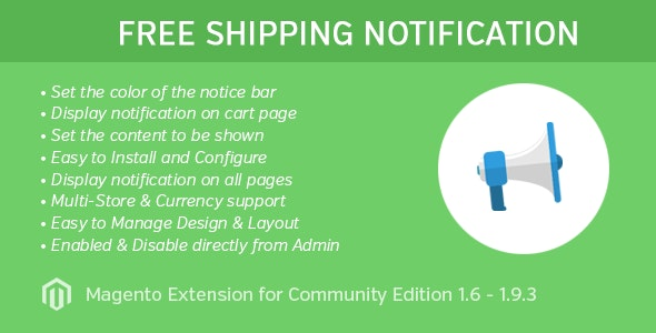 Free Shipping Notice Extension for Magento 1 - CodeCanyon Item for Sale