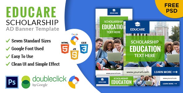 Educare | Education  HTML 5 GWD Animated Google Banner