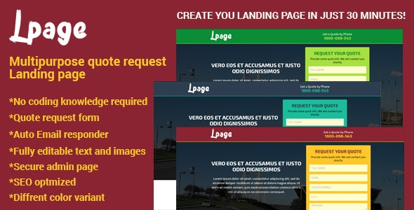 Lpage - Multipurpose quote request Landing page - CodeCanyon Item for Sale