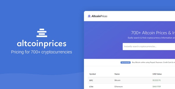 Altcoin Prices - 700+ Cryptocurrency Prices - CodeCanyon Item for Sale