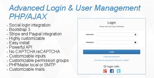 Advanced Login & User Management PHP/AJAX