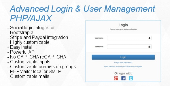 Advanced Login & User Management PHP/AJAX by M3nn0 | CodeCanyon