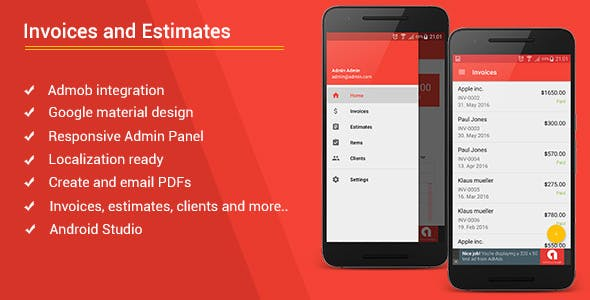 Android Invoices & Estimates Template + Admob + Admin Panel