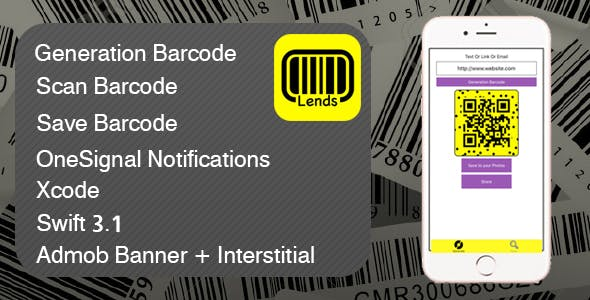 Lends Barcode XCODE Source Admob + Notifications