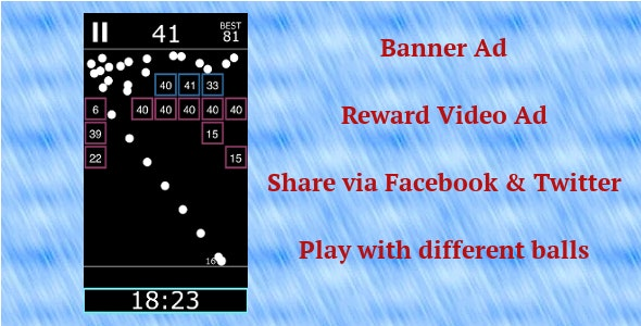 IOS Ball Game -Swift 3 -Video Ad -Banner Ad -Social Share by