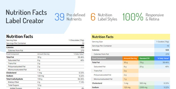 Nutrition Facts Label Creator by SaurabhSharma | CodeCanyon