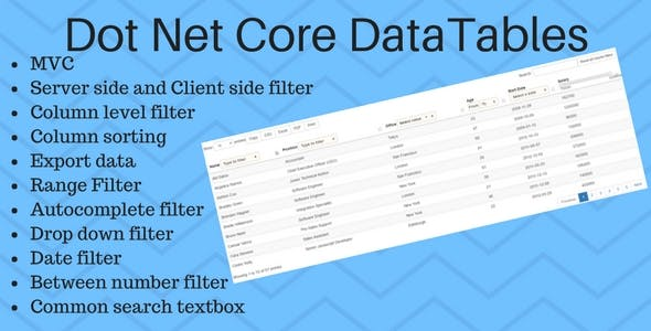 DotNet Core DataTables Grid