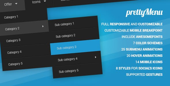 prettyMenu - Full Responsive and Customizable Menu Script