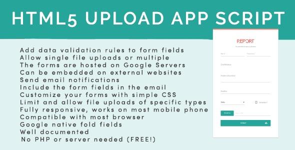 HTML5 Upload Form App Script Google Sheet - CodeCanyon Item for Sale