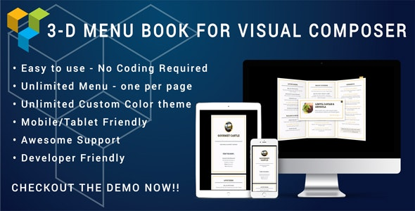 Restaurant Menu 3D Flyer for Visual Composer - Cafe, Restaurants, Canteen and Hotels - CodeCanyon Item for Sale