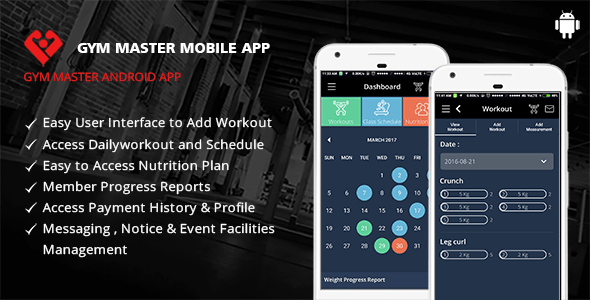 Gym Master Mobile App for Android - CodeCanyon Item for Sale