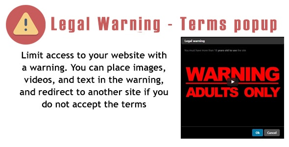 Prestashop LegalWarning - Terms popup Module - CodeCanyon Item for Sale