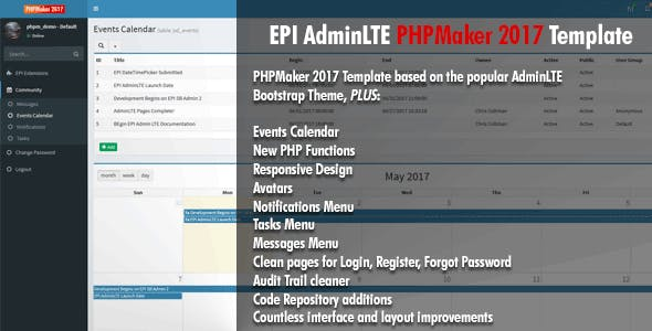 EPI AdminLTE PHPMaker 2017 Template - CodeCanyon Item for Sale