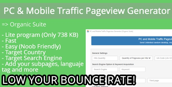 PC and Mobile Traffic Pageview Generator [Organic Suite] by