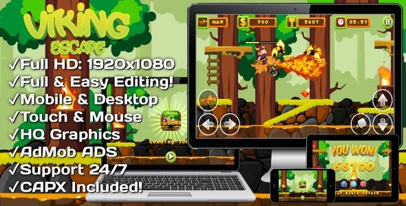 Viking Escape - HTML5 Game, Mobile Version+AdMob!!! (Construct 3 | Construct 2 | Capx)