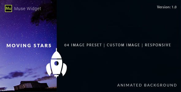 Moving Stars - Animated Background Muse Widget