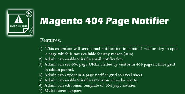Magento1x 404 Page Notifier